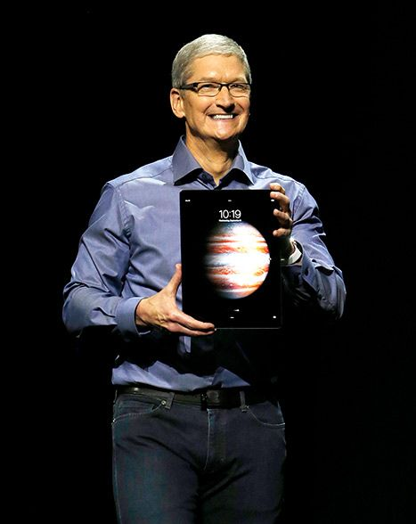 Apple CEO Tim Cook introduces the new 12.9'' iPad Pro during an Apple launch event at the Bill Graham Civic Auditorium in San Francisco, California