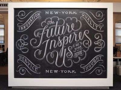 Beautiful chalkboard typography.  I really want to commission one for my wall.  I wonder how hard it is to preserve.