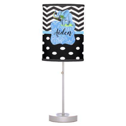 Modern Black Chevron Polka Dots Elephant Monogram Table Lamp - monogram gifts unique design style monogrammed diy cyo customize