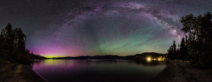 https://flic.kr/p/eHgs5v | Priest Lake Milky Way Aurora | Here's another pano from my trip to Priest Lake. This has the best color of the Aurora but I lost the top of the Milky Way in the merge.  I found that many of my attempts at photomerge in Photoshop didn't work. The lack of defining details in the sky and the effort to get the lake and the Milky Way in the frame made it difficult. In the past I always was able to point up at the foreground object, making it much easier to get images…