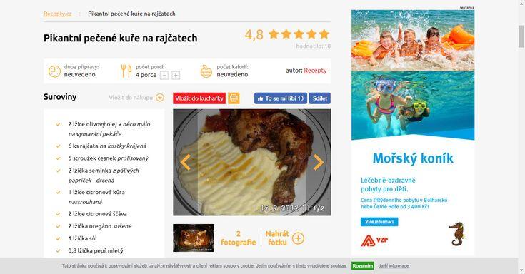 Pikantní pečené kuře na rajčatech - Recepty.cz - On-line kuchařka