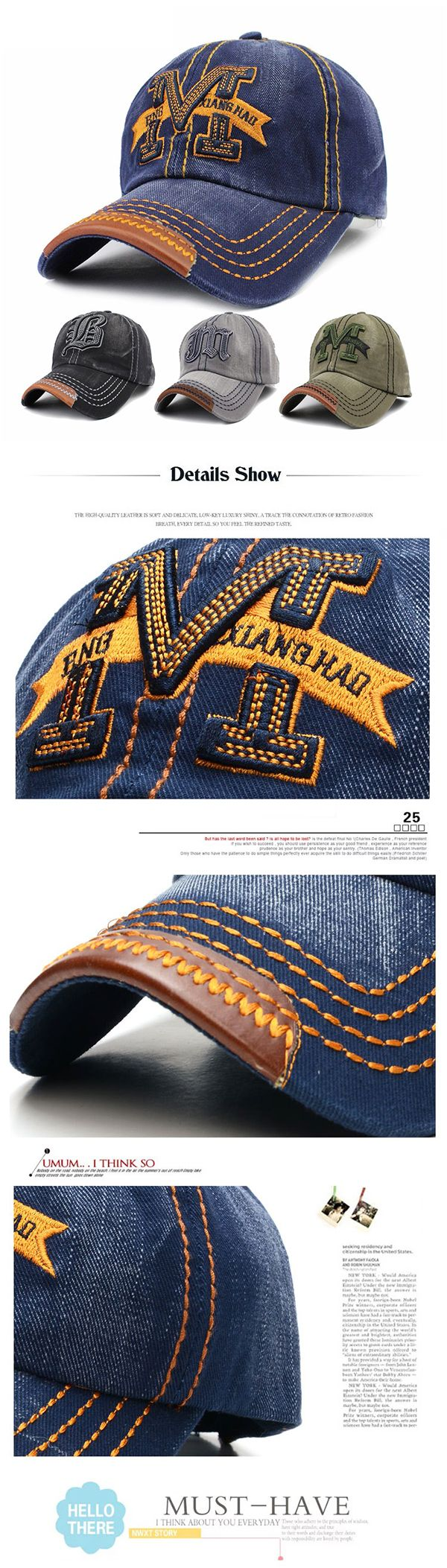US$7.60 (48% OFF) Men Women Embroidery M Cowboy Sun Hat Adjustable Snapback Baseball Cap