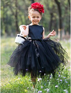 Ball Gown Bateau Tea-length Satin And Tulle Tutu Dress/Flower Girl Dress With Flower