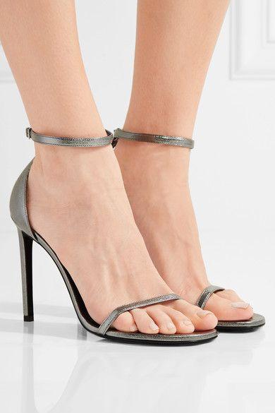 Saint Laurent - Jane Metallic Textured-leather Sandals - Silver - IT36.5