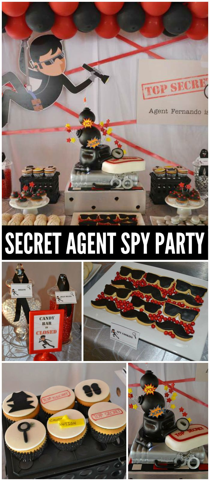 A Secret Agent birthday party for a little boy who wants to by a spy with an awesome backdrop! See more party planning ideas at CatchMyParty.com!
