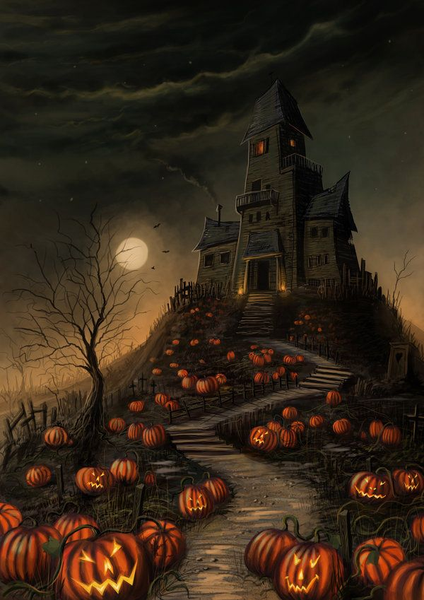Halloween Mansion by jerry8448 on deviantART [Mel: this guy's album is full of cool Halloween art!]