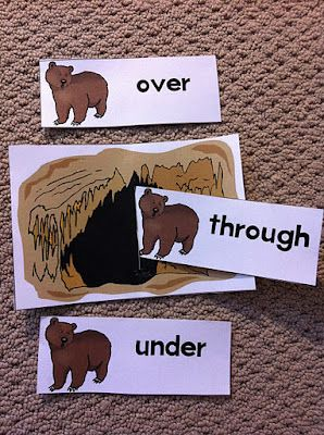 Bear activities; positional word practice