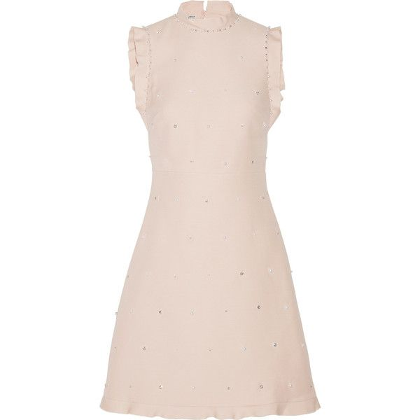 Miu Miu Ruffle-trimmed embellished wool and silk-blend mini dress (€2.615) ❤ liked on Polyvore featuring dresses, pink a line dress, a line cocktail dress, pink dress, short dresses and open back cocktail dress