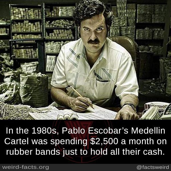 In the 1980s, Pablo Escobar's Medellin Cartel was spending $2,500 a month on rubber bands just to hold all their cash.