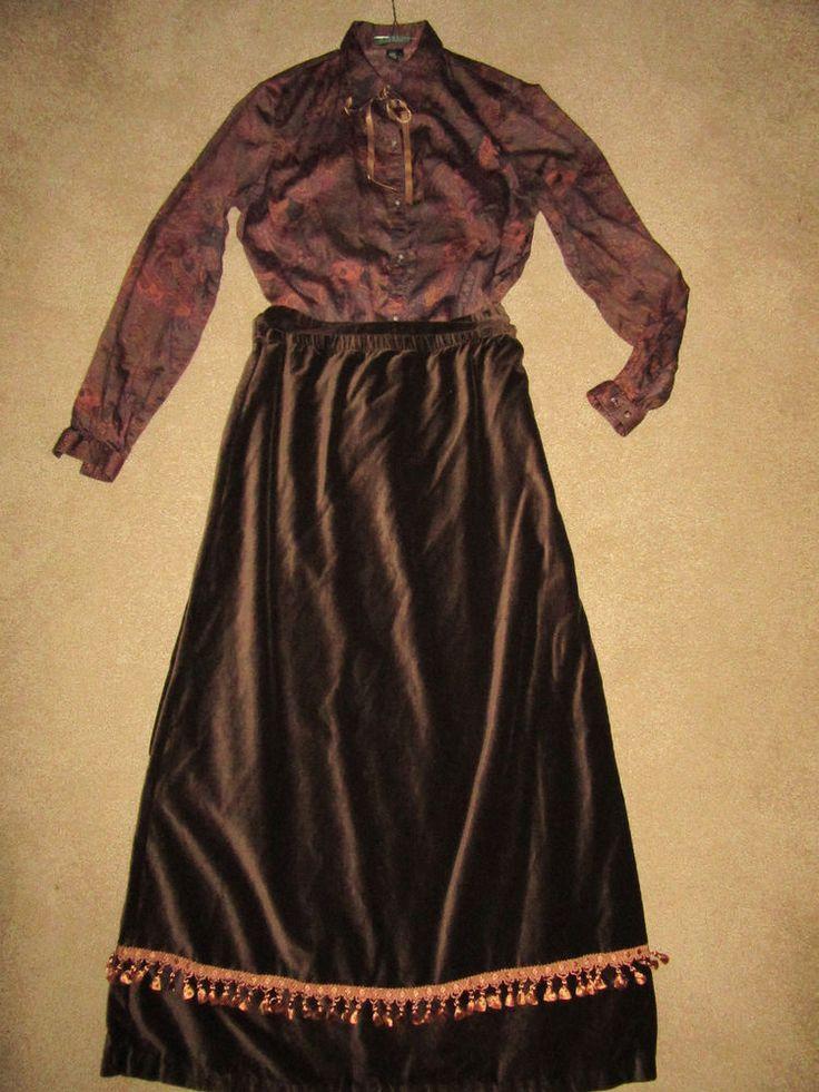 1900s VICTORIAN Edwardian costume size 10/12 Titanic Music Man top  brown skirt…