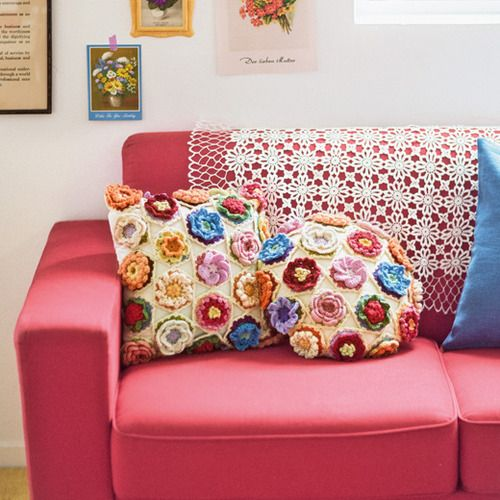 crochet floral motief cushions