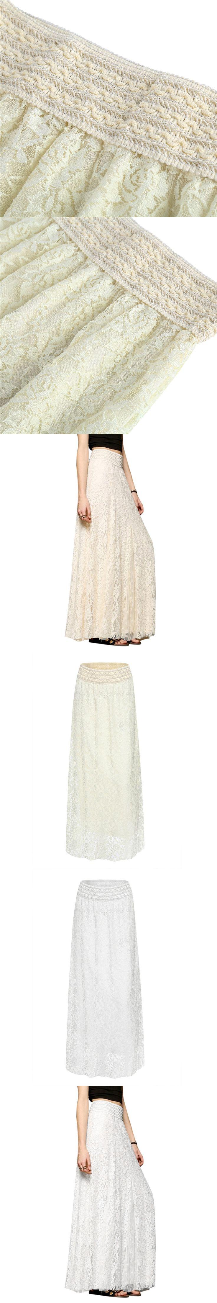 Long Maxi White Lace Skirts For Women 2017 Summer High Waist Adult Tulle Skirt Plus Size Elegant Ladies Office Skirt Jupe Femme