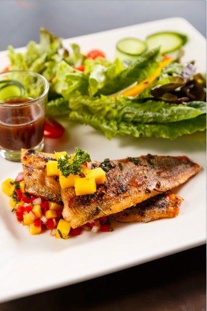 Rainbow Trout salad with mango balsamic dressing.   Recommended menu at The Pagoda Bistro & Bar, Maraya Riverside Resort Chiang Mai.