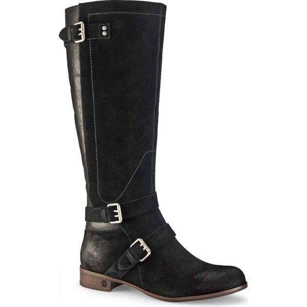 Ugg Women S Cydnee Black Suede Leather Riding Boots 260