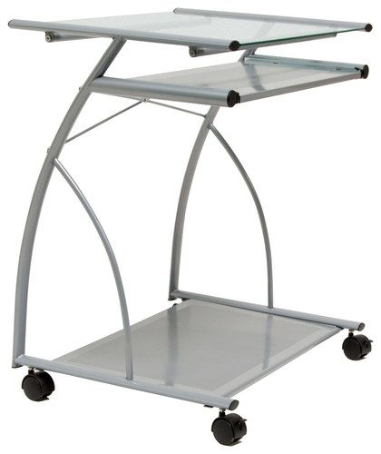 Calico Designs - Mobile Glass Computer Cart - Silver