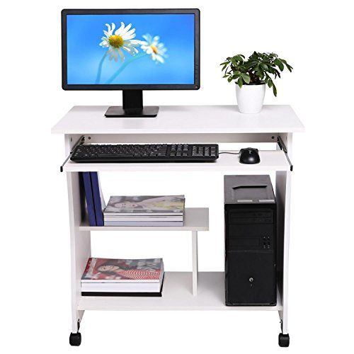 Professional Wooden Computer Desk Movable Pc Laptop Table Study Workstation For Home Office Us Stock White Click Special Deals Homeoffice