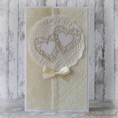 wedding love card for giving cash heart lace rosette, tim holtz stencil ornament