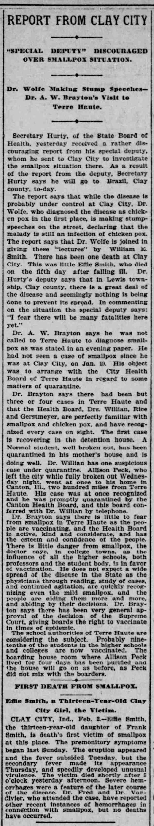 """""""Report From Clay City,"""" The Indianapolis Journal (Indianapolis, Indiana), 3 February 1900, p. 8, col. 6; digital image, Chronicling America (http://chroniclingamerica.loc.gov/ : accessed 6 December 2014)."""