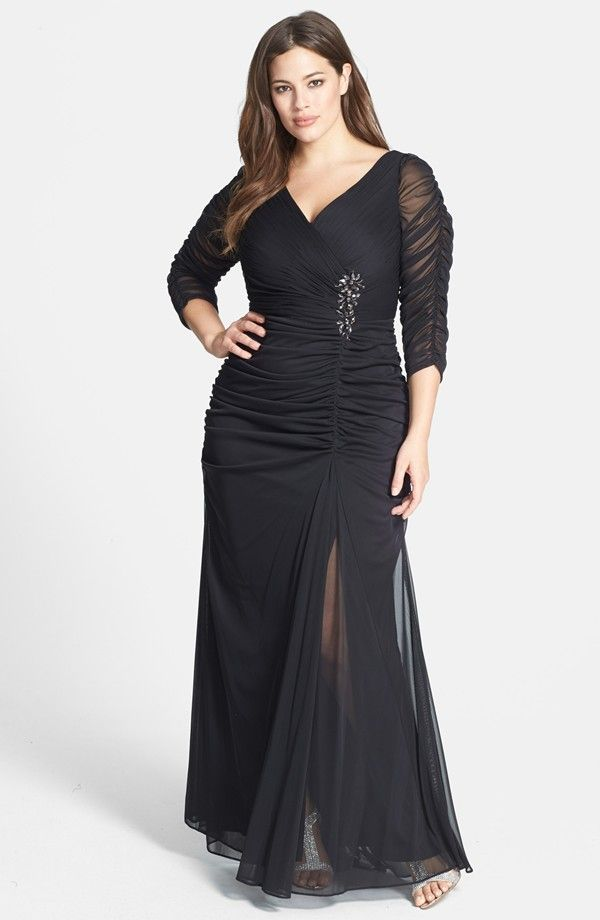 Beaded Mesh Gown (Plus Size) (we should be called Normal size. Sizes like 00 should be Minus Size clothing!
