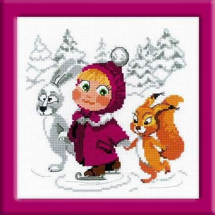"""Набор для вышивания крестом """"Маша и Медведь"""" 1567 """"Праздник на льду"""" от РИОЛИС"""