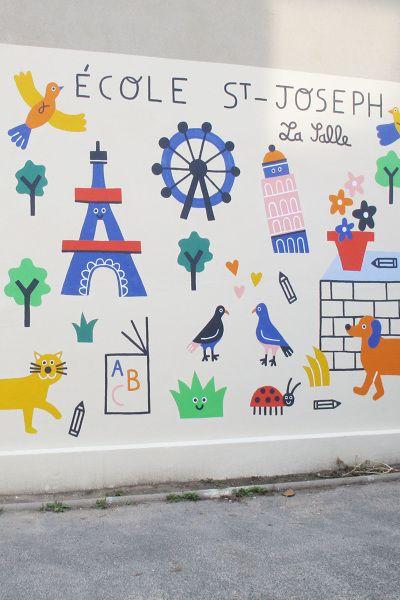 Whimsical wall mural