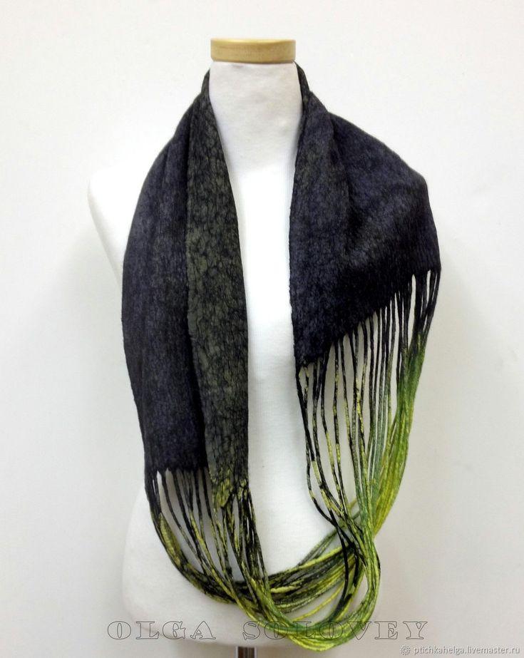 Купить или заказать шарф - снуд МОЛОДЫЕ РОСТКИ в интернет магазине на Ярмарке Мастеров. С доставкой по России и СНГ. Материалы: шерсть 100%, натуральный шёлк. Размер: около 67*25 см