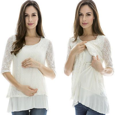 Breastfeeding Tops Maternity Nursing Clothes Pregnancy Wear Nursing Tops White