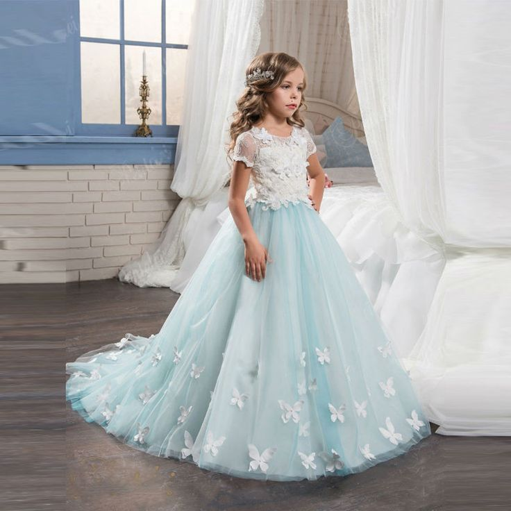 Light Blue Girls Dresses With Butterfly Short Sleeves Ball Gown O-Neck First Girls Communion Gown Girls Pageant Dress New 0-12 Y