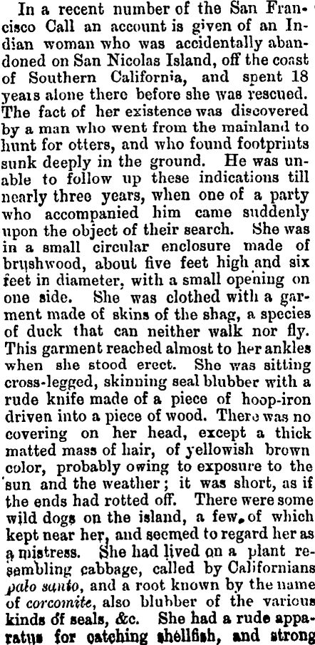 An original newspaper article written in June of 1879 about the girl in the book Island of the Blue Dolphins.