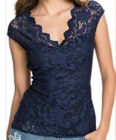 Women Navy Blue Lace Blouse
