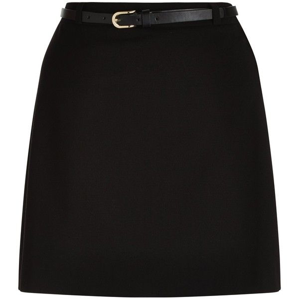 New Look Teens Black Belted A-Line Skirt ($16) ❤ liked on Polyvore featuring skirts, bottoms, saias, black, mini skirt, a-line skirt, zipper mini skirt, a line mini skirt and belted skirts