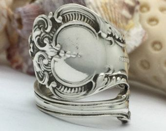 Size 9 Vintage Whiting Sterling Silver Spoon Ring door NotSoFlatware