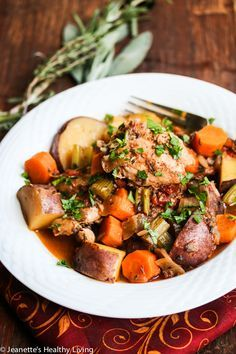 Slow Cooker Chicken Vegetable Stew with Rosemary, Thyme and Sage @jeanetteshealth