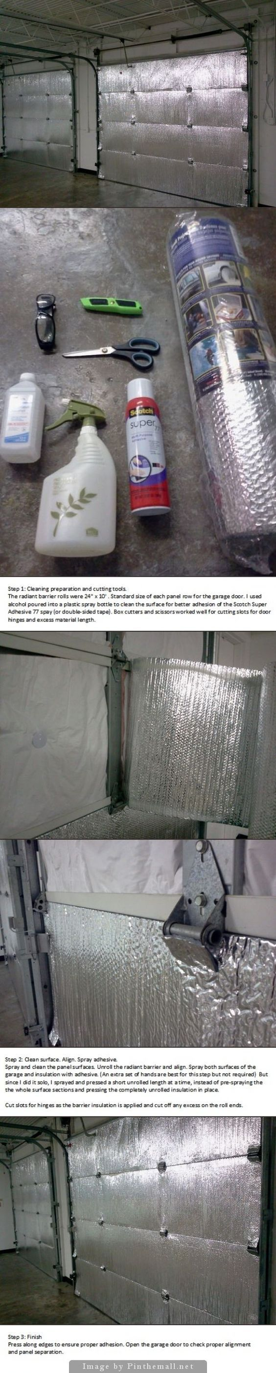 Easy install of radiant barrier insulation to garage doors. Used Reflectix brand…