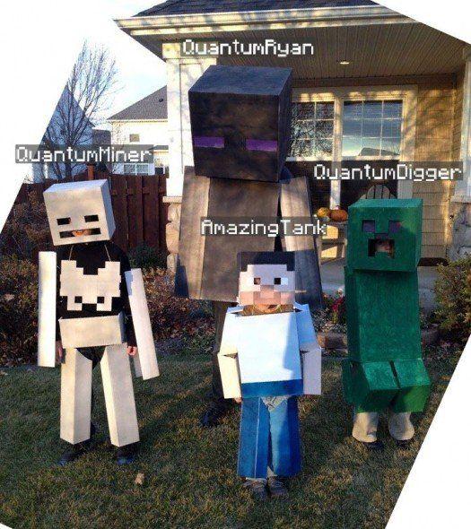 Halloween Costumes - Creeper, Skel, Enderman and Steve | [ Kid ...