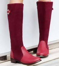 Nuevo estilo británico cargadores del caballero tacones gruesos redondos hebilla de cuero de gamuza cosido boots botas de montar de invierno venta(China (Mainland))