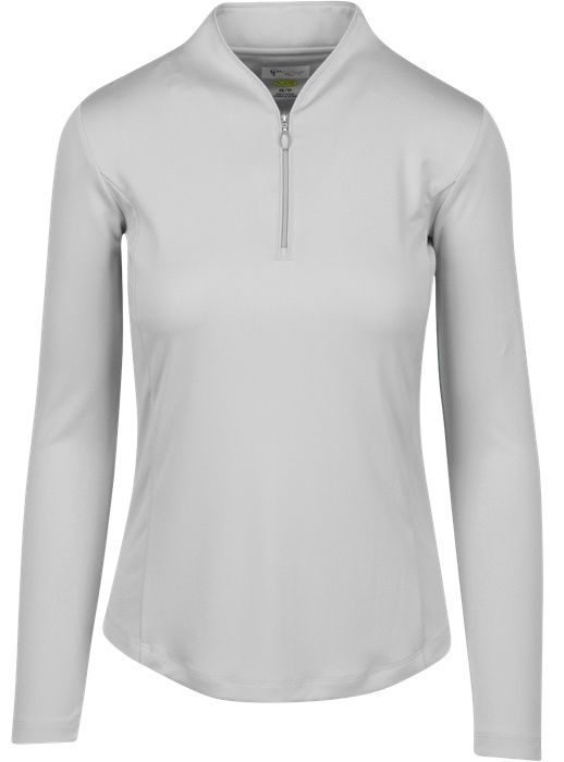 Check out our White ESSENTIALS Greg Norman Ladies & Plus Size Zip L/S Tulip Neck Golf Shirt! Find stylish golf apparel at #lorisgolfshoppe Click through to own this shirt!
