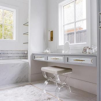 Gray Floating Makeup Vanity with Mirrored Drawer Fronts