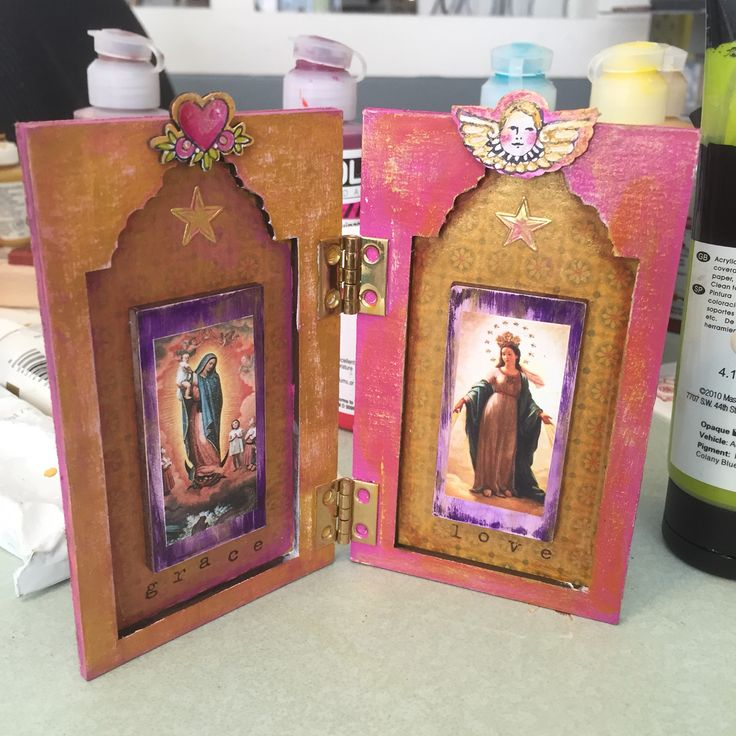 Grace and Love Diptych by Kae Pea Using Nicho Kit and Milagros stamps from RubberMoon