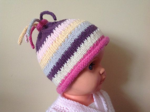 Baby Girl Hat Stripe HatColourful Baby Hat Funky by Pinknitting