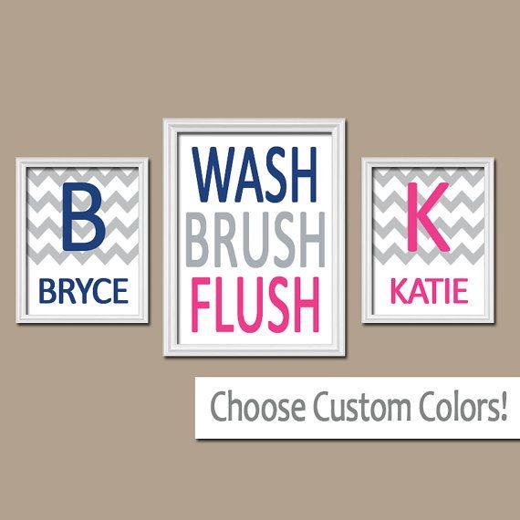 ★Brother Sister Child Name Monogram Initial Bath Navy Blue Hot Pink WASH Brush Flush Chevron Set of 3 Trio Prints WALL ART Boy Girl Bathroom  ★Includes