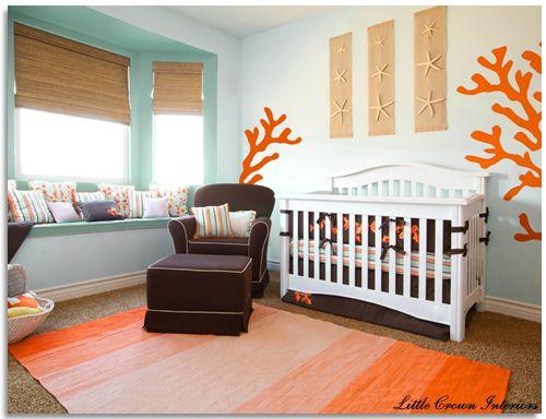 aqua orange baby nurseries