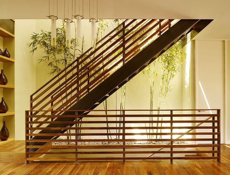 Wood Stair Railings Staircase Contemporary With Bamboo Beige