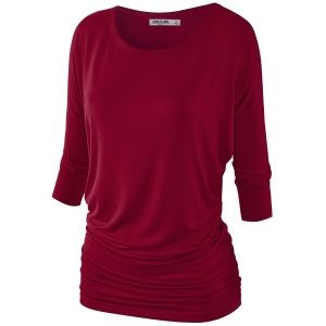 MBJ Womens 3/4 Sleeve Drape Top