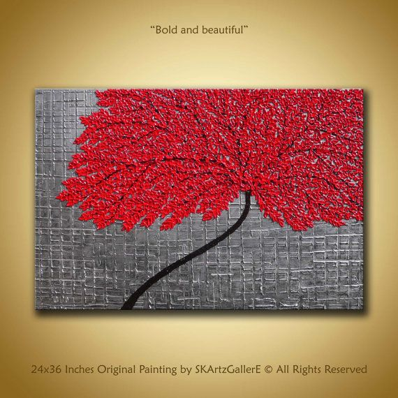 Red Tree Painting Original Abstract Art Large Contemporary Painting Red  Black Abstract Metallic Wall Art 3d 24x36 Textured Painting