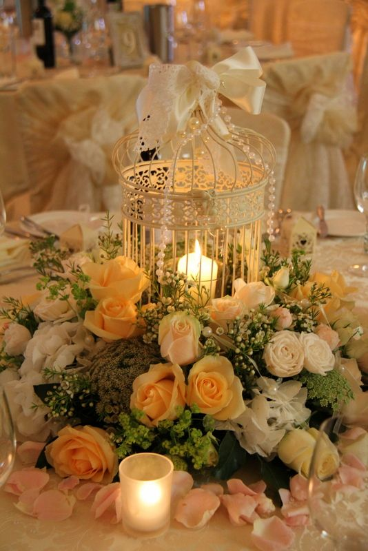 Flower Design Events: Beautiful Vintage Bird Cage Design in shades of Champagne & Gold