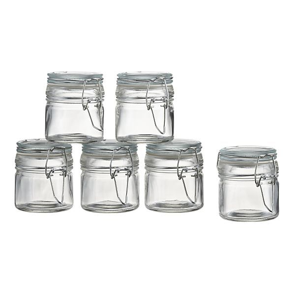 Set of 6 Mini Spice Jars with Clamps. Would be cute for spices using chalkboard adhesive labels.