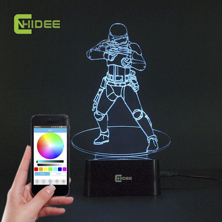 Cnhidee USB новинка звездные войны Bluetooth музыки настольная Lampara 3D штурмовик Bulbing из светодиодов Luz de Noche гравировка ночник декор