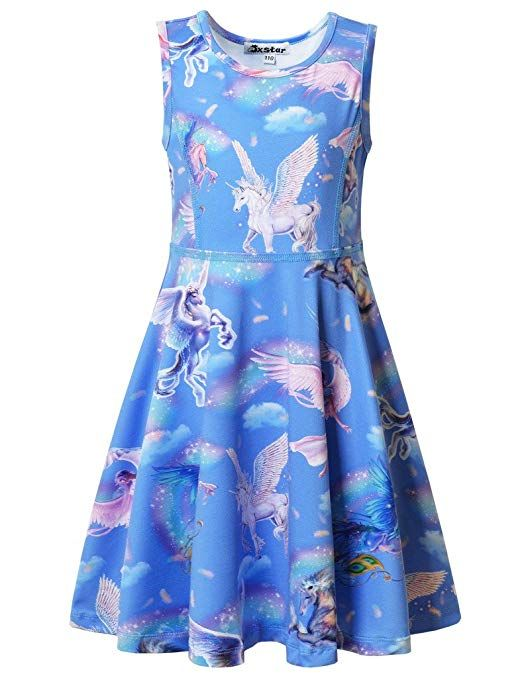 2e7028edd3a4 Jxstar Big Girls Dress Unicorn Printed For Skater Fairy Pattern Sleeveless  Dress Sky Unicorn 140