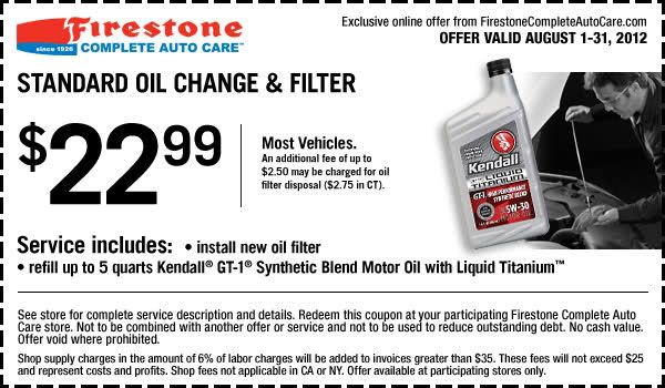 $22.99 Standard Oil Change and Filter In-store Printable Firestone Coupon